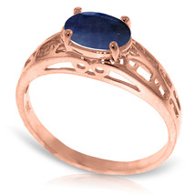Brand New 14K Solid Rose Gold Filigree Ring with Natural Sapphire - £184.87 GBP