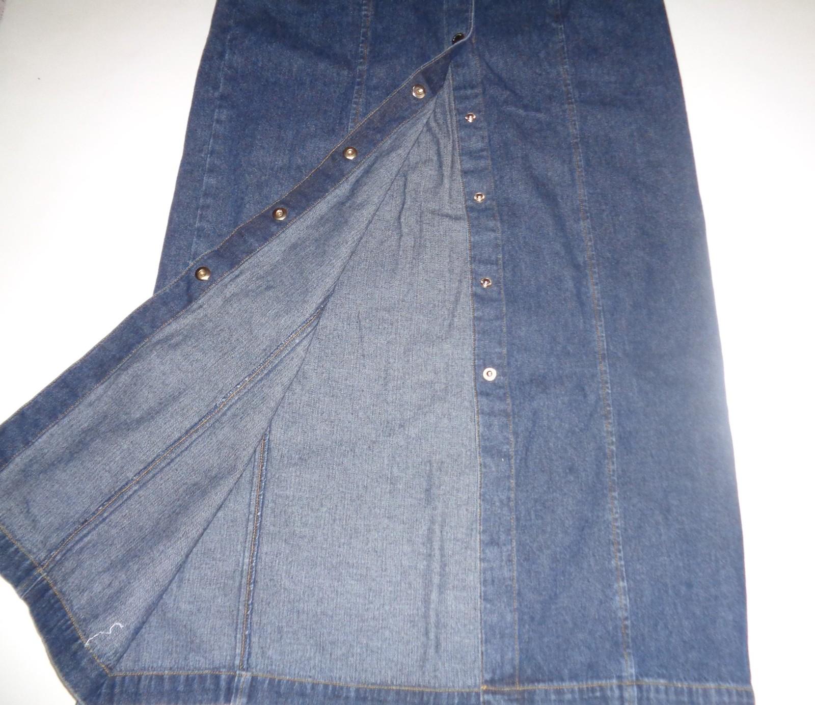 jones new york signature blue jean front button jean skirt