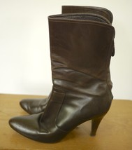 COLE HAAN Made in Italy Brown Leather Zip Up High Heel Ankle Boots 7.5B 38 - $29.99