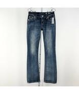 Women's Blue Miss Me Signature Slim Boot Cut Bling Jeans sz 26 - $61.92