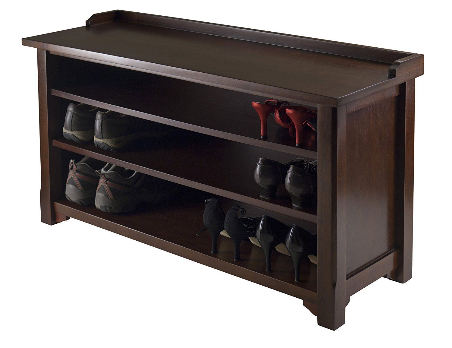Shoe Organizer Hall Bench Rack Entryway Shelves boots seat antique wood finish - $178.19