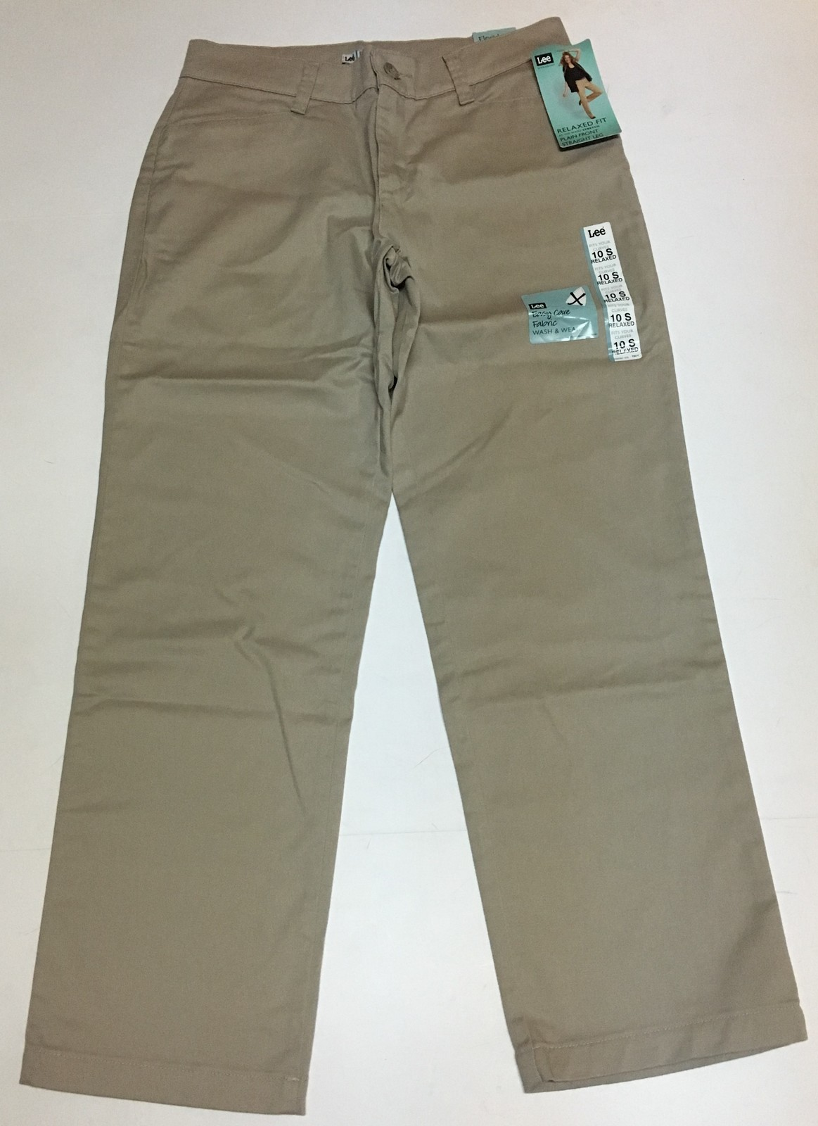 Lee Relaxed Fit Stretch Beige Pants Sz 10 Short Straight Leg NWT image 5