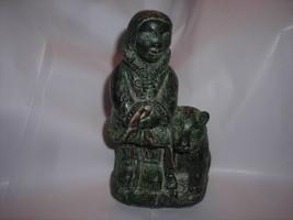 Figurine Inuit girl with dog,soapstone - $28.95