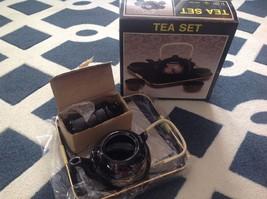 Oriental Tea Set-Tray, 4 Cups, & Pot-New In Box-NICE - $12.82