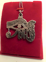 Vintage Heavy Large  Egyptian Sterling  Silver Eye Of Hours Charm   1 1/... - $99.00