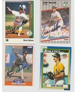 Gene Nelson Oakland Athletics Signed Assorted 4 Card Lot - $8.06