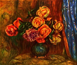 100% Hand Painted Oil on Canvas - Still life roses before a blue curtain... - $226.71