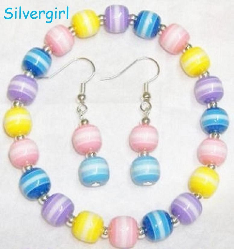 Candy stripe beaded bracelet earrings set