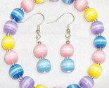 Candy stripe beaded bracelet earrings set thumb155 crop