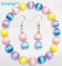 Candy stripe beaded bracelet earrings set thumb200