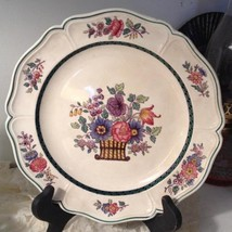 Wedgwood Floral Scallop Dinner Plate (2) Multi Flowers Basket Green Trim A6793