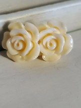 Ivory Tone Blooming Flower Stud Earrings Women Fashion Jewelry Elegant S... - $13.00