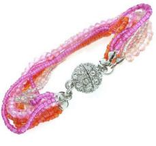 Magnetic Closure Pave Ball Hot Pink Orange Facet Crystal Multi Layered B... - $24.97