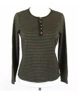 RALPH LAUREN Size L Black Gold Metallic Striped Knit Henley Top - $12.99