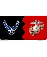 AIR FORCE AND MARINE CORPS A HOUSE DIVIDED MILTARY USA MADE LICENSE PLATE - £21.25 GBP