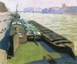 100% Hand Painted Oil on Canvas - Barges on the banks of the Seine by Fe... - $315.81