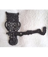 Decorative Black Iron Metal Owl Swivel Arm Wall Hook Two Parts VERY CUTE! - $16.95