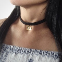 Leather Choker Necklace - Black Choker with heart charm - $26.70