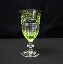 Crystal Goblet Ajka PROINNSEAS Lime Green Peridot Cut to Clear - $95.00