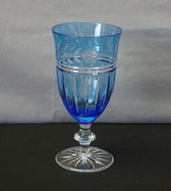 Crystal Goblet Ajka PROINNSEAS Blue Cut to Clear - $95.00