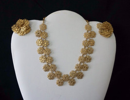 Vintage Signed Vendome Choker Necklace Earrings Set Gold Tone Filigree Flowers - $149.95