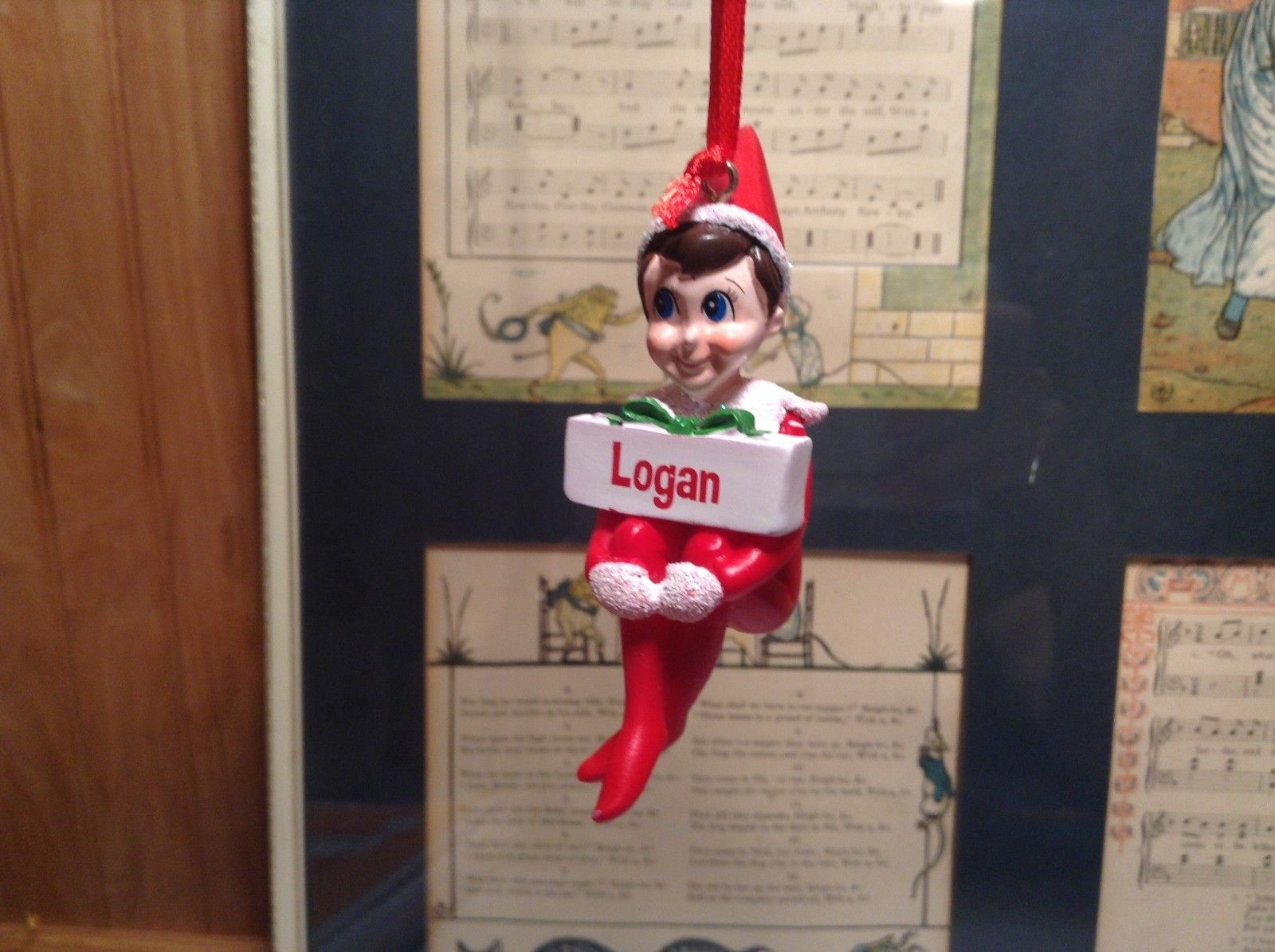 Dept 56 - Elf on the Shelf -  Logan banner Christmas Ornament
