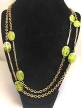 """Vintage Pierced Art Glass Necklace Goldtone Link Bar 48"""" Green  - $24.13"""