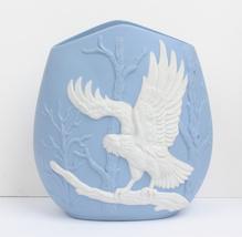 Blue and White Eagle Design Ceramic Vase Vintage Jasperware Style - $54.00