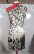 ROBERTO CAVALLI Leopard Dress Silk One Shoulder Size 38 S Made in Italy - $524.57 CAD