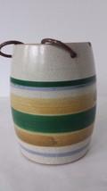 "Decorative Ceramic Barrel Planter Green Gold Beige 5"" Tall 3"" Diameter - $12.86"