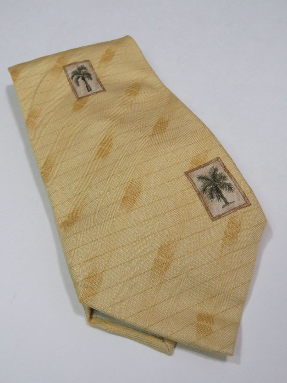 Tommy Bahama Yellow Gold Silk Tie Palm Trees Tropical