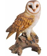 Realistic Common Barn Owl Perching On Tree Stump Statue With Glass Eyes ... - $69.99