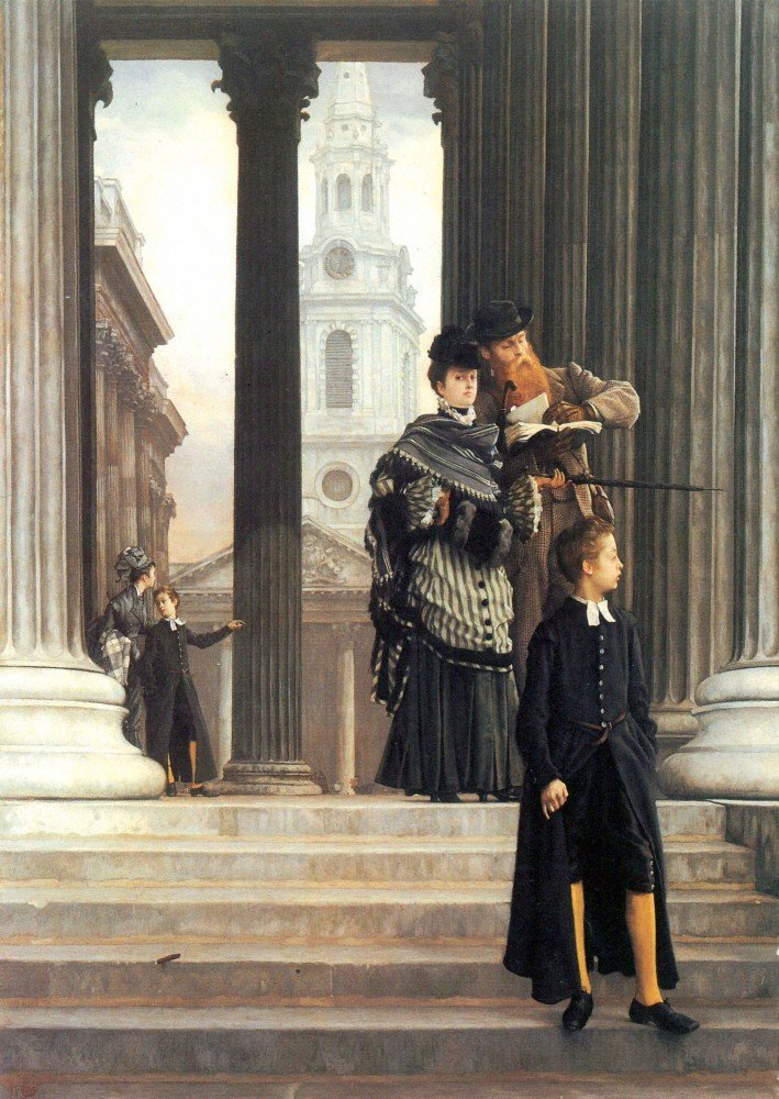 100% Hand Painted Oil on Canvas - Visitors in London by Tissot - 30x40 Inch