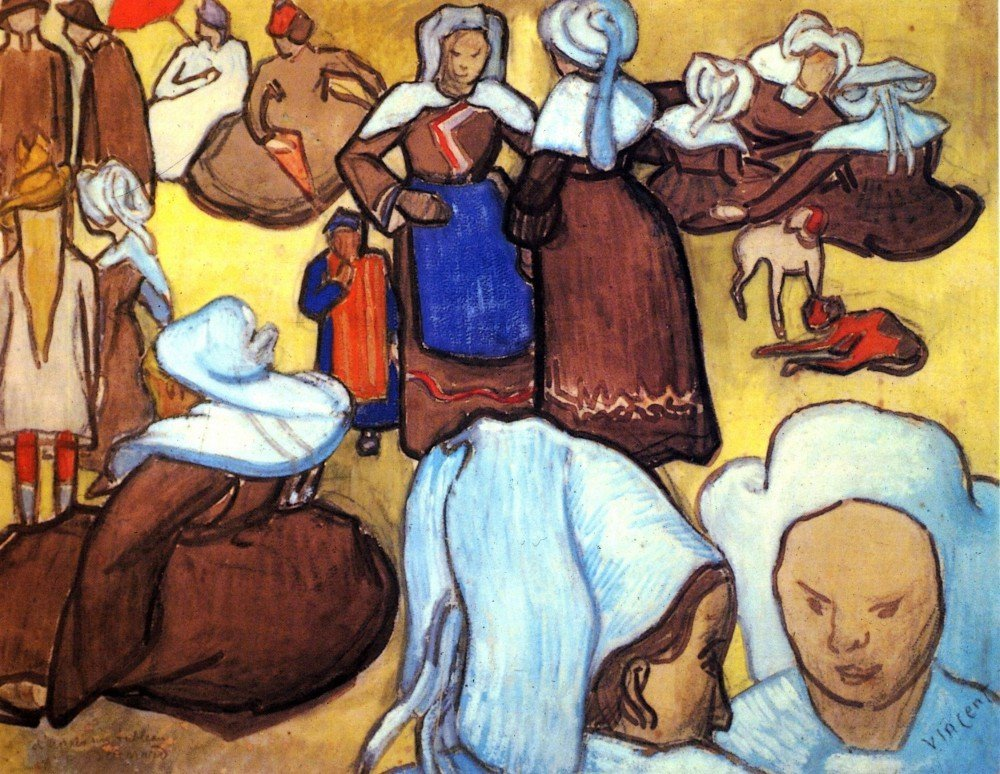 100% Hand Painted Oil on Canvas - Breton Women after Emile Bernard - 30x40 Inch