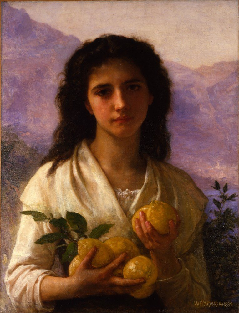 100% Hand Painted Oil on Canvas - Bouguereau - Girl Holding Lemons - 30x40 Inch