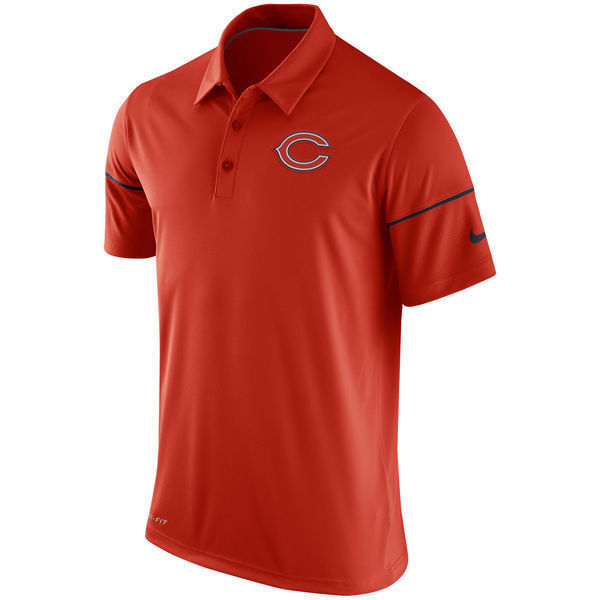 Men's Chicago Bears Nike Orange Team Issue Dri-FIT Polo Golf Shirt Size M