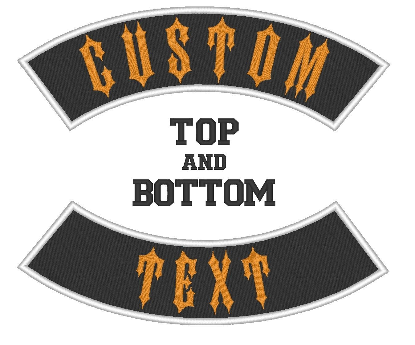 Custom Embroidered Rocker Set Biker Patch Club Outlaw MC Top And Bottom 8""