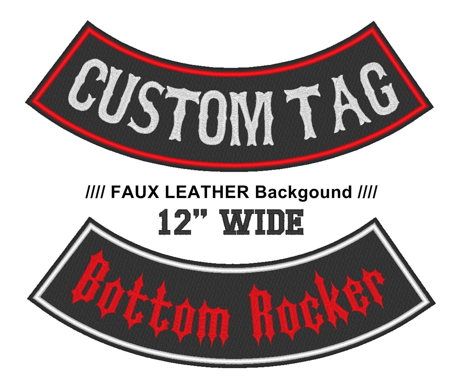 "Custom Faux Leather 12"" Bottom Rocker Vest Biker MC Club Vest Sew on Patch (B)"