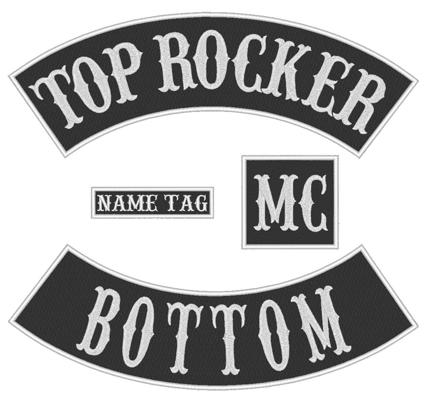 "Custom Embroidered 10"" Full Vest Set Rocker Patch Biker Badge (B) - 4 PC"