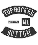 "Custom Embroidered 10"" Full Vest Set Rocker Patch Biker Badge (B) - 4 PC - $34.13+"