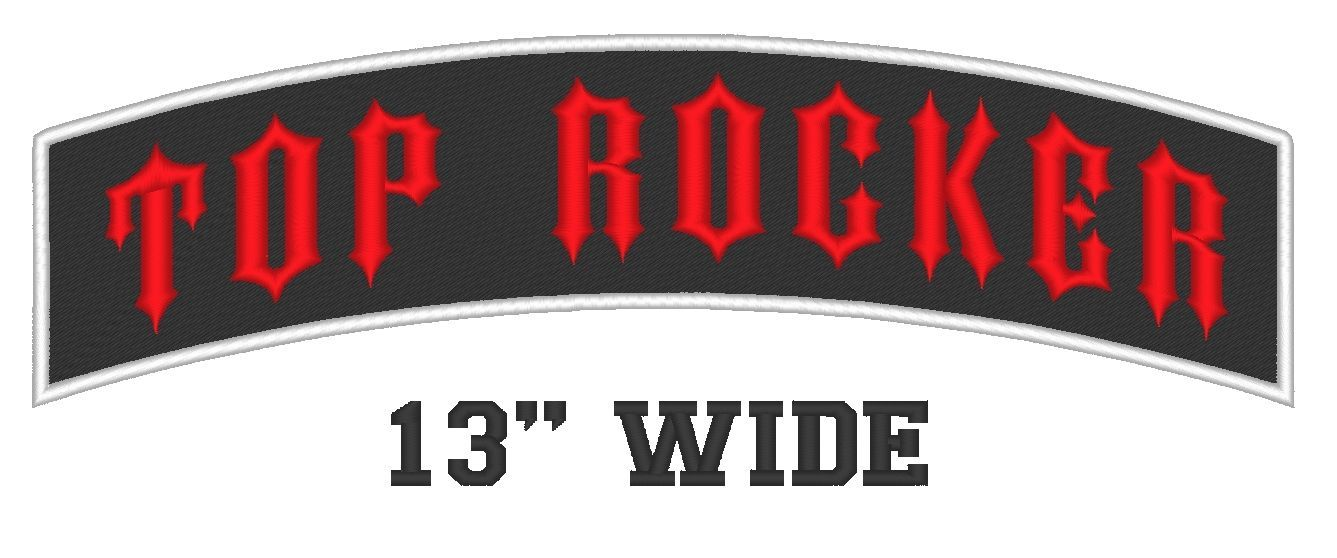 "Custom Embroidered 13"" Top Rocker Motorcycle Biker Name Tag Sew on Patch (A)"