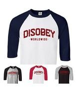 CUSTOM Vendetta Disobey T shirt 3/4 Raglan Baseball Shirt - Personalize ... - $15.79+