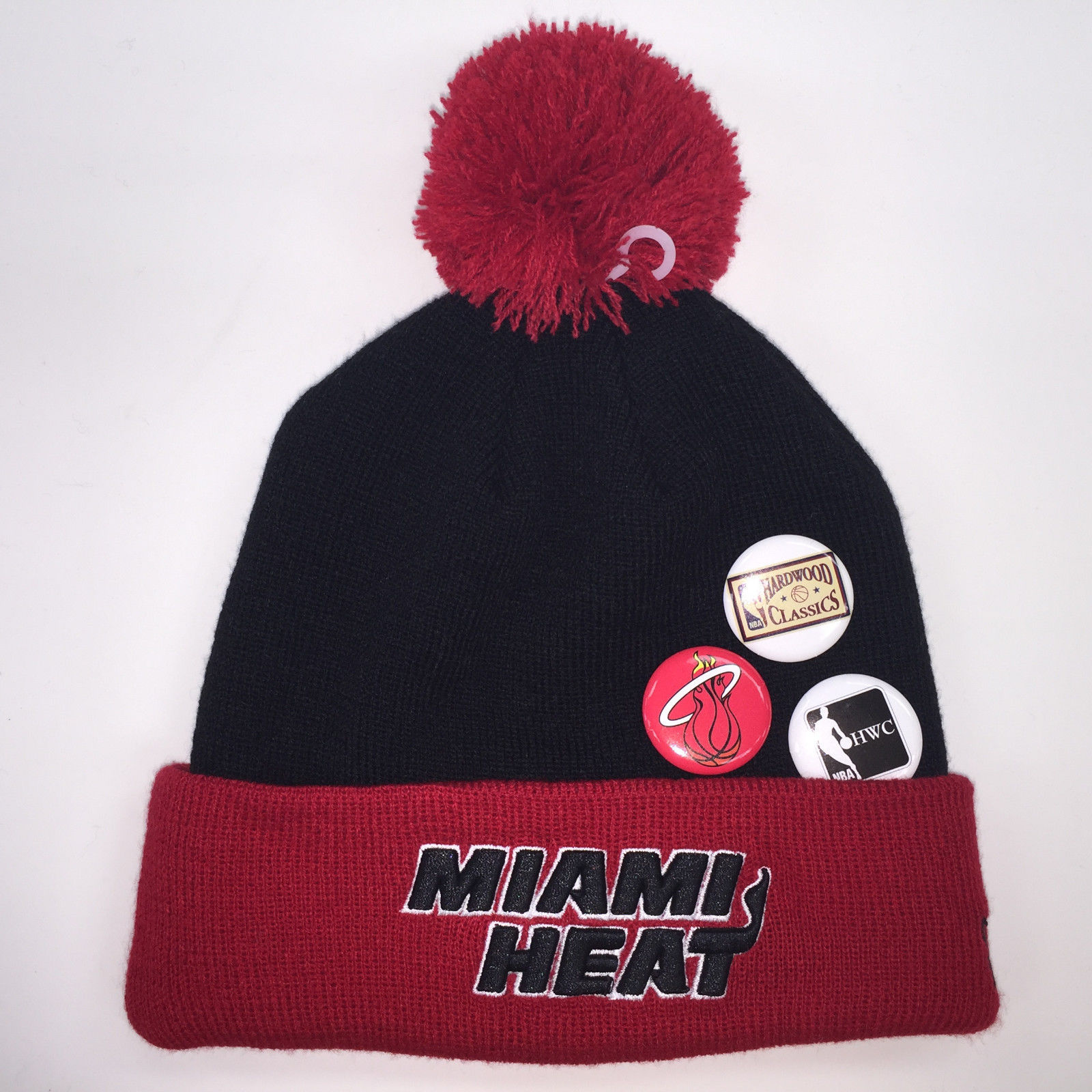 New Era NBA Miami Heat Button Up Pom Knit Beanie 7266