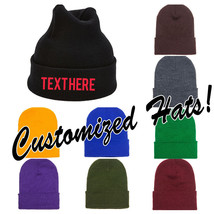 CUSTOM EMBROIDERY Personalized Customized Yupoong Cuffed Beanie Cap Hat ... - $17.59+