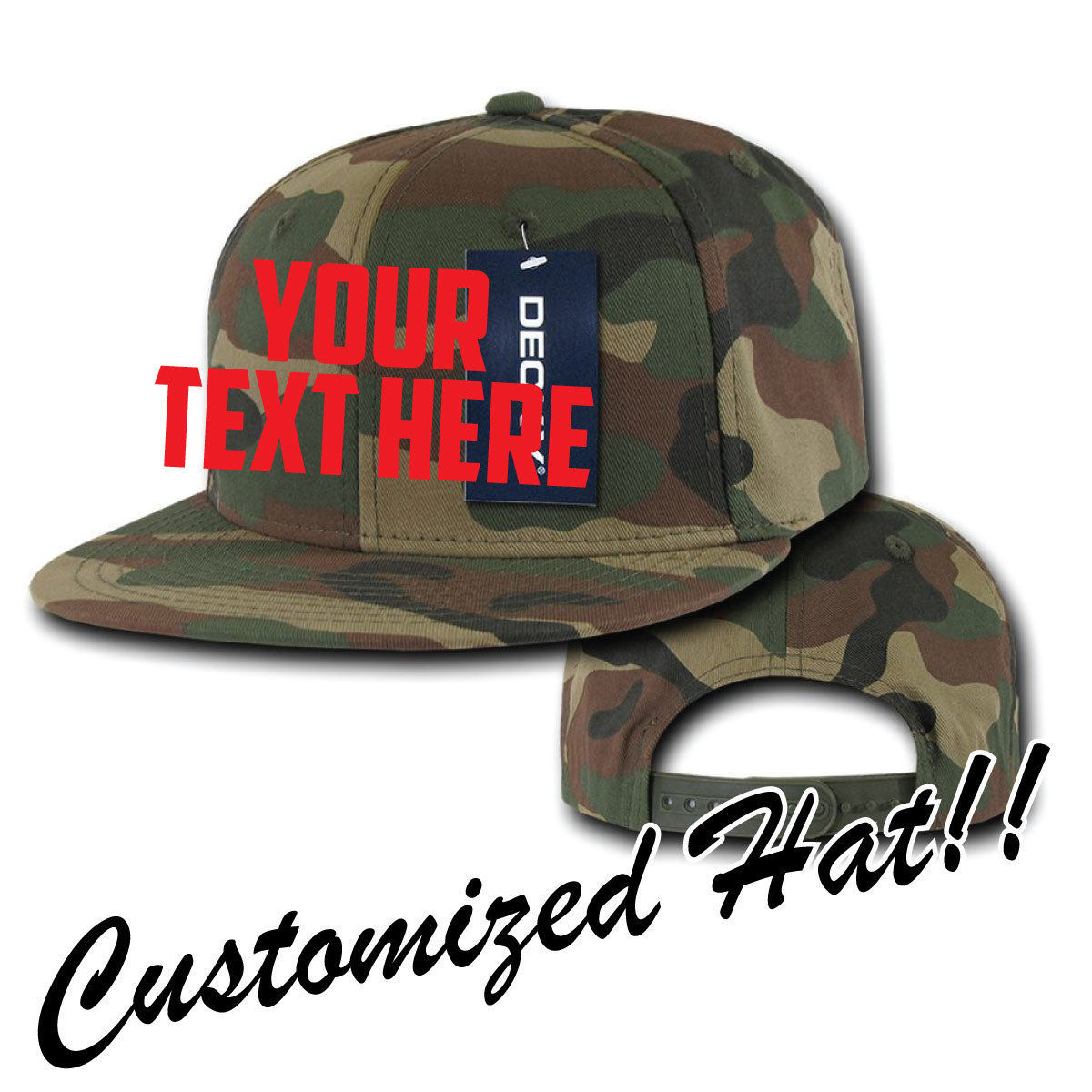 CUSTOM EMBROIDERY Personalized Decky Camo Matching Bottom Snapback Cap 359