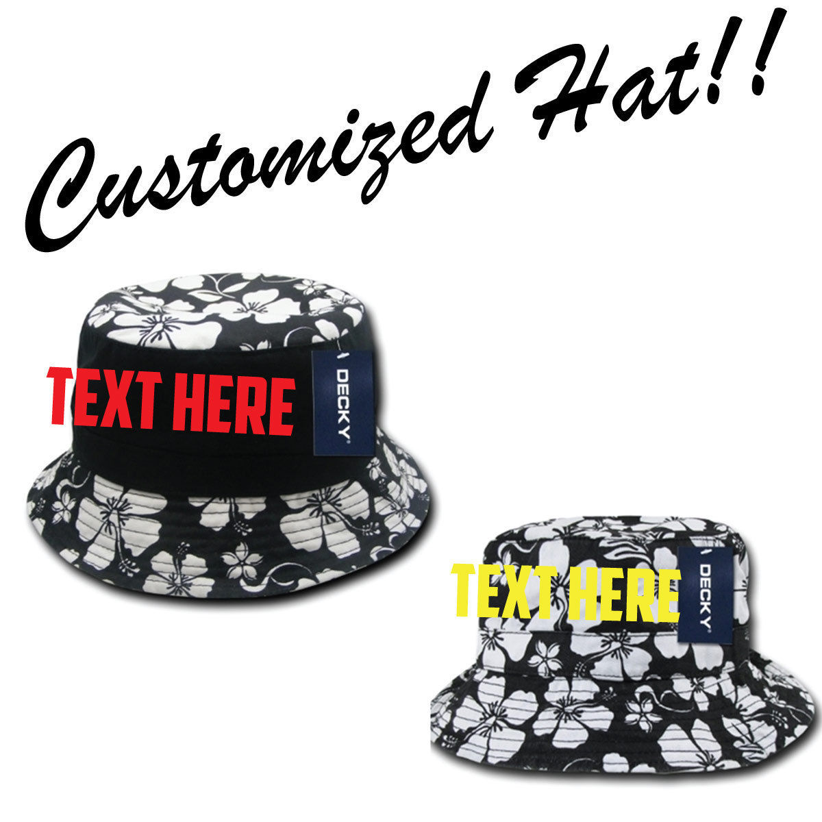 CUSTOM EMBROIDERY Personalized Customized Decky Floral Polo Bucket Hat 455 457