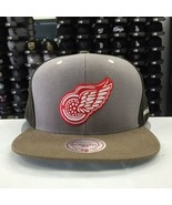 Mitchell & Ness NHL Detroit Red Wings Khaki Gray Brown Adjustable Snapba... - $23.26