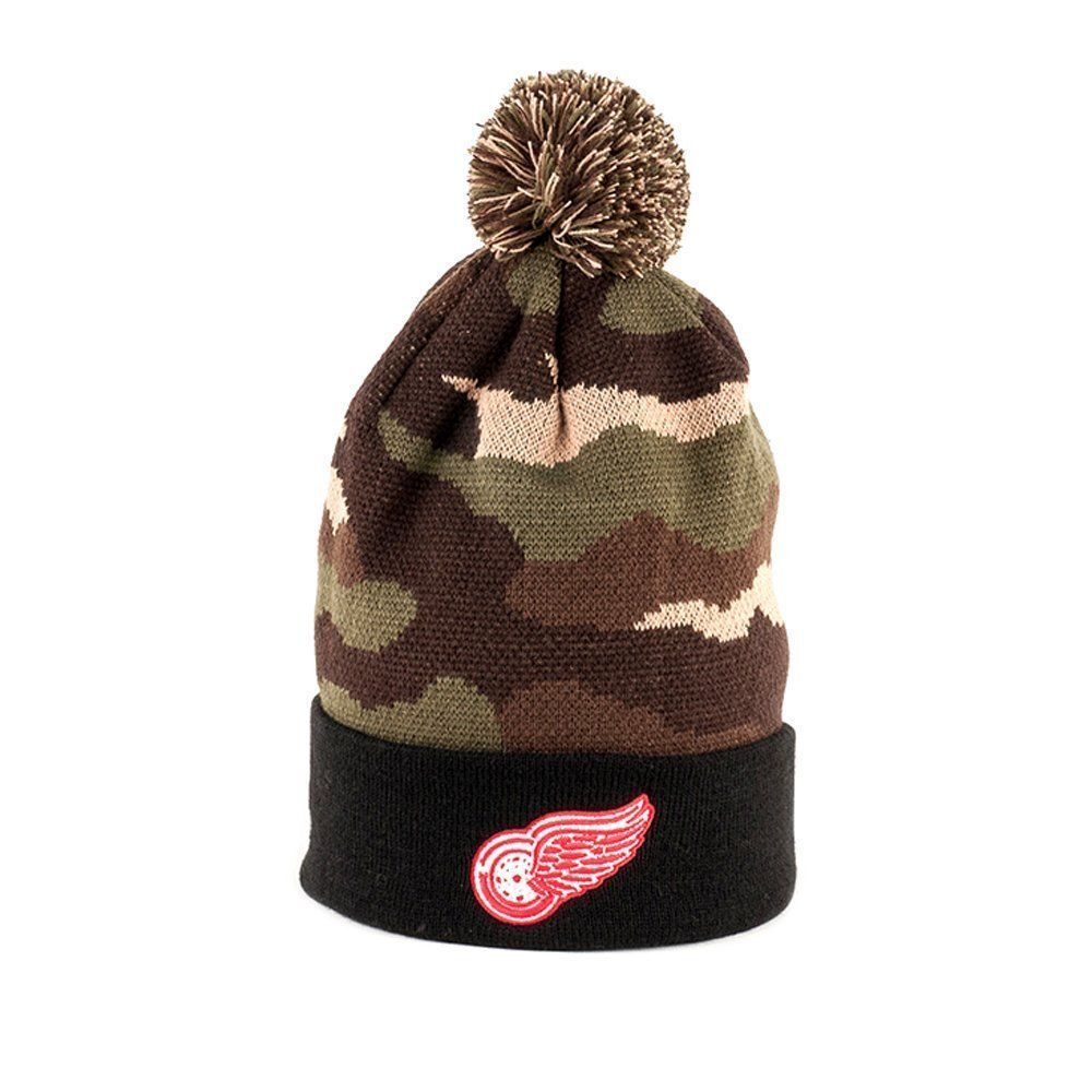 American Needle NHL Detroit Red Wings Camo Cuffed Pom Knit Beanie Hat 13126