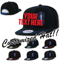 CUSTOM EMBROIDERY Personalized Customized Decky Contra-Stitch Snapback Cap 358 - $17.59+