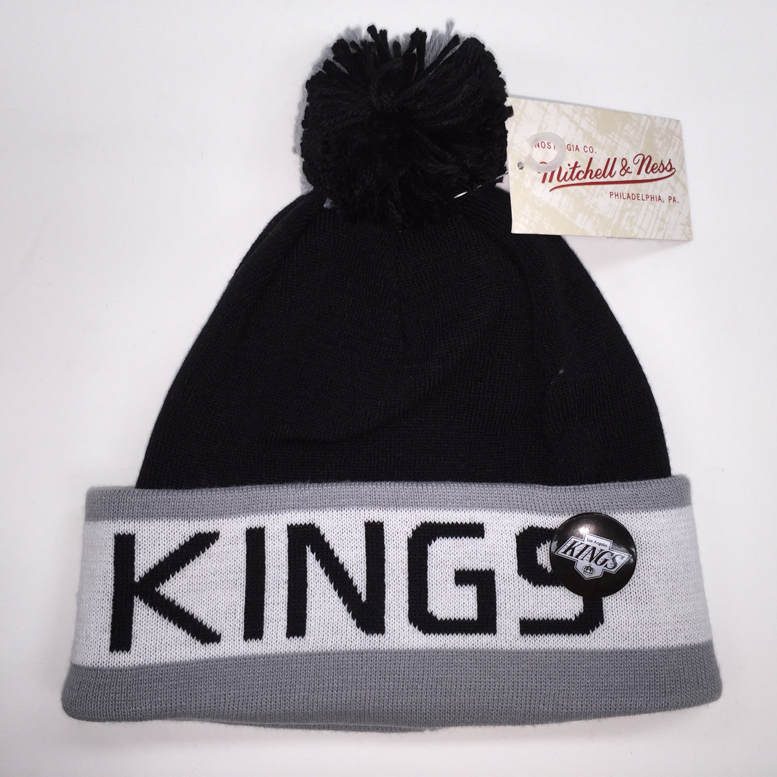 Mitchell & Ness NHL Los Angeles Kings Vintage Black Pom Knit Beanie 9953